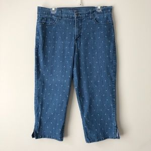 NYDJ Sailor Anchor Print Crop Jeans Size 12